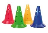 Funktionskegel 30 cm mit 12 Löchern, rot, gelb, grün, blau